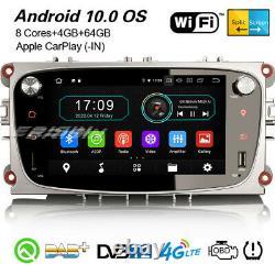 8-core Android 10.0 Autoradio Dab+ Navi Carplay Ford Mondeo Focus Galaxy C/s-max