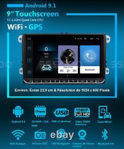 9 Autoradio Android 9.1 2/32g Rds Gps Navi 2 Din For Vw Golf 5 6 Variant Passat