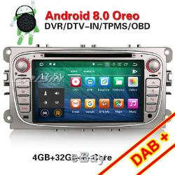 Android 8.0 Car Radio Navi Dab + Bt Tnt For Ford Focus Mondeo S / C-max Galaxy