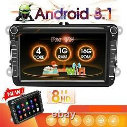 2DIN 8 Autoradio Android 8.1 GPS Navi Bluetooth Pour VW GOLF5 PASSÉ POLO TIGUAN