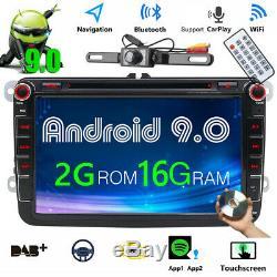 2DIN DVD Autoradio Android 9.0+ Caméra GPS Navi pour VW GOLF PASSAT TOURAN POLO