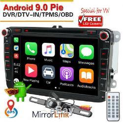 2DIN DVD Autoradio Android 9.1 + Caméra GPS Navi pour VW GOLF PASSAT TOURAN POLO