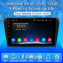 2 DIN 9'' Android10.0 Autoradio GPS Navi BT WiFi Pour Mazda 3 2003-2009 DAB+ USB