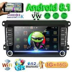 2 DIN Android 8.1 7 Autoradio GPS NAVI WIFI Bluetooth Pour VW GOLF PASSAT POLO