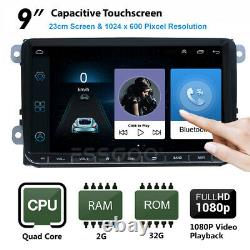 2 DIN Autoradio 9 Android 2+32G GPS Navi +Caméra Pour VW GOLF 5 PASSAT Tiguan