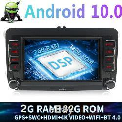 7 Android 10 autoradio 2+32GB GPS Navi DSP pour VW Golf 5 Passat Tiguan Touran