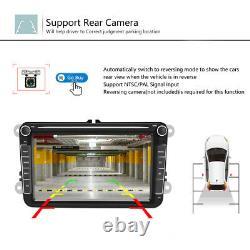 8 2DIN Autoradio Android 8.1 GPS Navi BT FM AM pour VW GOLF 5 6 Passat+Caméra
