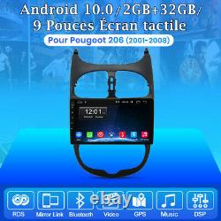 9Autoradio Android 10.0 DAB+ GPS Navi Pour PEUGEOT 206 2001-2008 DSP WIFI 2+32G
