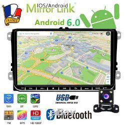 9 2Din Autoradio Android 6.0 Bluetooth GPS NAVI pour VW Skoda+caméra de recul