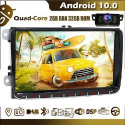 9 Android 10 2GB 32GB Autoradio 2 DIN DAB GPS Navi Pour VW Golf 5 Polo Passat