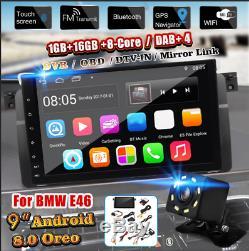 9'' Android 8.0 Autoradio GPS Navi Sat DAB+ WiFi Caméra Touchscreen pour BMW E46