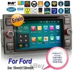 Android 8.1 DAB+Autoradio Ford Fiesta Focus C S-Max Mondeo DVD Navi BT TNT 3866F