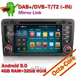 Android 9.0 Autoradio 8-Core GPS WiFi DAB+4G TNT AUDI A3 S3 RS3 RNSE-PU Navi SWC