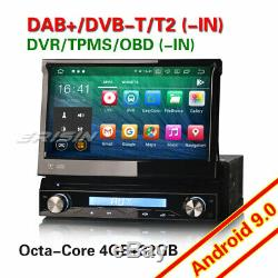 Android 9.0 DAB+ Détachable 1Din Autoradio Navi DVD WiFi OBD2 TNT Antivol 8-Core