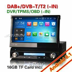 DAB+ Android 8.1 Détachable 1Din Autoradio Navi USB WiFi OBD2 TNT-in RDS TPMS CD
