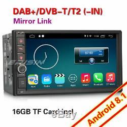Double 2Din GPS Android 8.1 Autoradio WiFi DAB+ TNT Radio OBD Bluetooth Navi USB