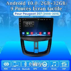 Pour Peugeot 207 2006-2015 Autoradio Android 10.0 GPS NAVI WIFI DAB+ DSP 2+32GB